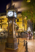 Steam Clock in Gastown Vancouver BC at Night — Stock Photo