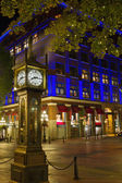 Steam Clock in Gastown Vancouver BC at Night 2 — Stock Photo