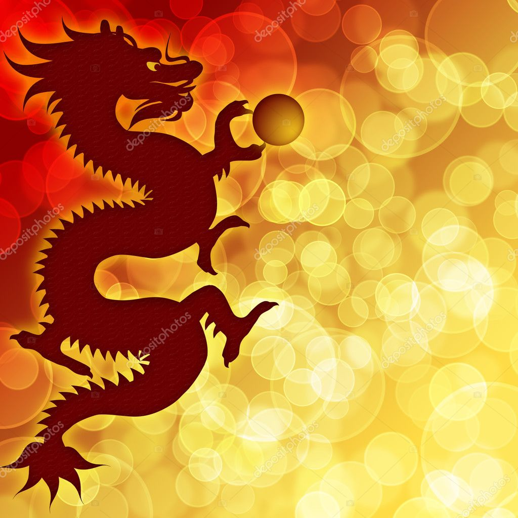 Happy Chinese New Year Dragon with Blurred Bokeh Background Illustration  Zdjcie stockowe #6978475