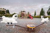 Neighborhood Public Park Children's Playground with Seesaw — Stock Photo