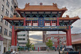 Sunset at Chinatown Gate in Seattle Washington — Stock Photo