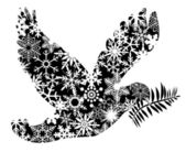 Christmas Peace Dove Silhouette — 图库照片