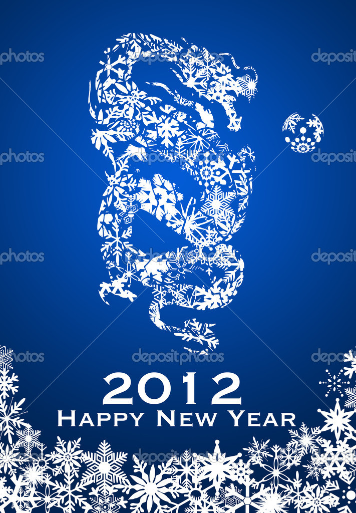 2012 Chinese Year of the Dragon with Snowflakes Illustration — Stock Photo #7168255