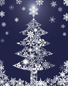 Christmas Tree with Snowflakes Blue Background — Stock Photo