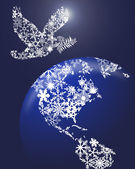 Christmas Peace Dove On Earth — Stock Photo