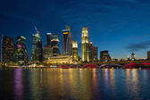 Singapore River Waterfront Skyline at Blue Hour — Stock Photo