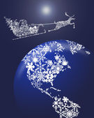 Christmas Santa in Sleigh with Reindeer over Earth — Stock Photo