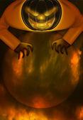 Halloween Jack O Lantern Over Spooky Moon — Stock Photo