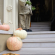 Halloween Decoration in Front of House — Stock Photo