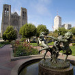 Fountain at Huntington Park by Grace Cathedral - Stock Photo