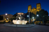 Grace Cathedral from Huntington Park at Blue Hour — Stockfoto
