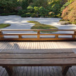 Stock Photo: View of Japanese Sand Garden from Wooden Bench