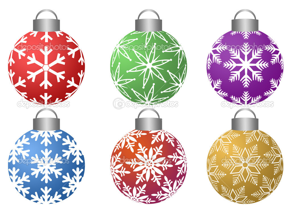 Colorful Ornaments with Snowflakes Pattern Design Isolated on White Background — Stock Photo #7351442