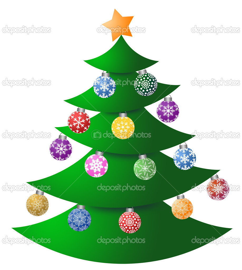 Christmas Tree with Colorful Ornaments and Tree Topper Illustration — Stock Photo #7352435