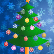 Royalty-Free Stock Photo: Colorful Christmas Tree on Blurred Snowflakes Background