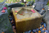 Japanese Bamboo Fountain with Stone Basin — Stock Photo