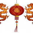 Stock Photo: Happy Chinese New Year 2012 Wealth Lantern with Dragons