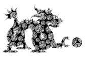 Chinese Dragon Sitting Archaic Motif Black and White Clip Art — Stock Photo