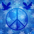 Foto Stock: Peace Dove Over Earth Globe and Snowflakes