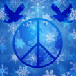 Foto de Stock  : Peace Dove Over Earth Globe and Snowflakes