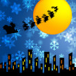 Santa Sleigh and Reindeers Flying Over the City — Stock Photo