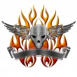 Skull with Wings Flames and Banner — Stock Photo #7497932