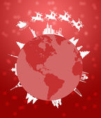 Santa Sleigh and Reindeer Flying Around the World Red — Stock Photo
