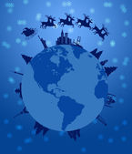 Santa Sleigh and Reindeer Flying Around the World — Stock Photo