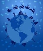 Santa Sleigh and Reindeer Flying Around the World — Stock Photo