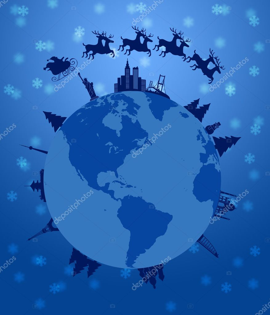 Santa Sleigh and Reindeer Flying Around the World Earth Globe Illustration — Stock Photo #7497960