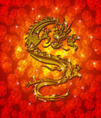 Golden Metallic Chinese Dragon on Red Blurred Background — Stock Photo