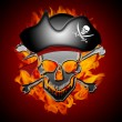 Pirate Skull Captain with Flames Background — Stock Photo