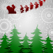 Santa Sleigh Reindeer Over Trees on Silver Background — Stock Photo