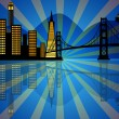 Reflection of San Francisco Skyline at Night — Stock Photo