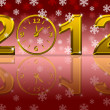 Gold 2012 Happy New Year Clock with Snowflakes — Stock Photo