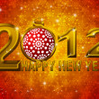 Gold 2012 Happy New Year Snowflakes Ornament Illustration - Stock Photo