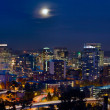 Stock Photo: Moon Over Portland Oregon City Skyline at Blue Hour