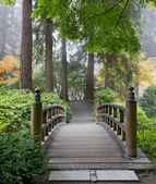Foggy Morning at Wooden Foot Bridge at Japanese Garden — Stock Photo