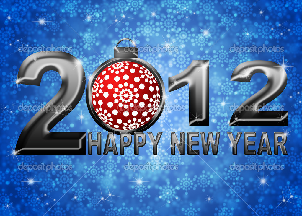 2012 Happy New Year Snowflakes Ornament on Blue Blurred Snow Background — Stock Photo #7563744