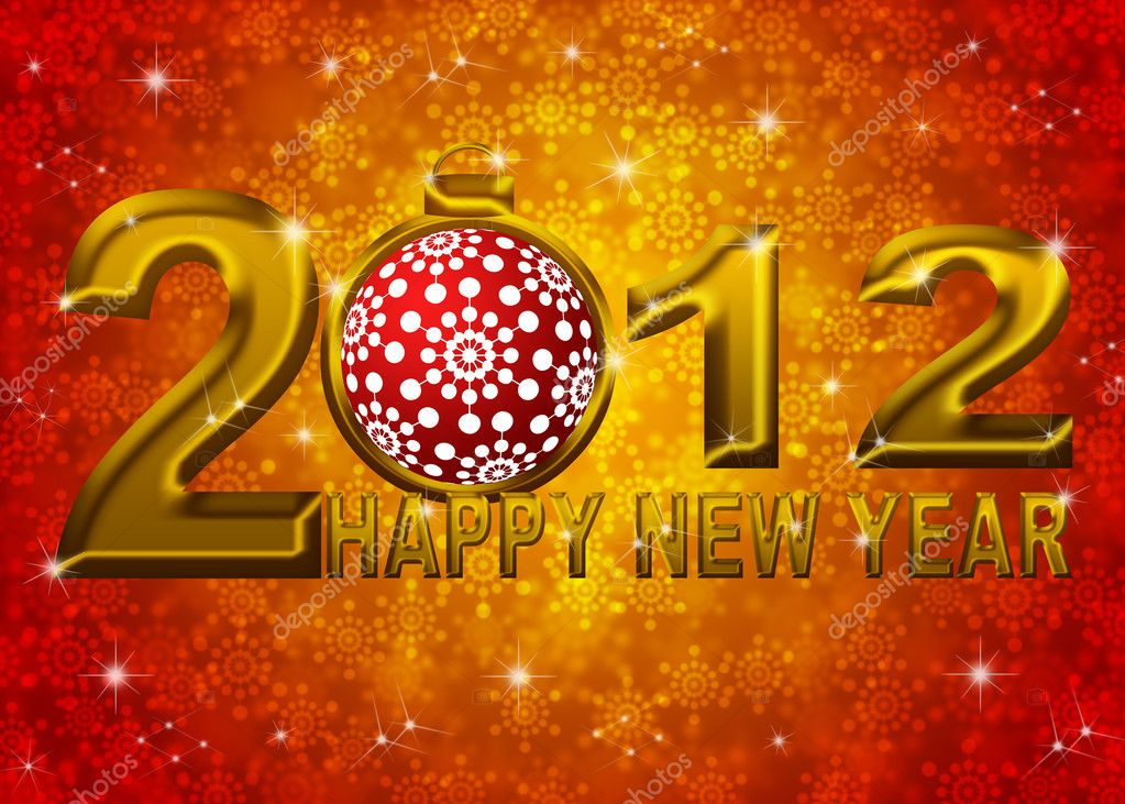 Gold 2012 Happy New Year Snowflakes Ornament on Blue Blurred Snow Background — Stock Photo #7563758