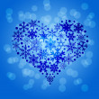 Christmas Snowflakes Heart Shape on Blurred Background — Stok fotoğraf