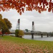Stock Photo: Fall Colors at Portland Oregon Downtown Waterfront