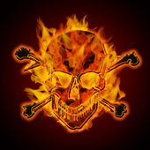 Fire Burning Flaming Metallic Skull with Crossbones — Stock Photo