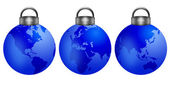Christmas Tree Ornaments with World Map — Zdjęcie stockowe