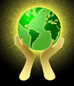 руки, держа иллюстрация глобус мира — Стоковое фото