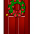 Red Door with Christmas Wreath Illustration — Stock Photo