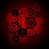 Time Clock Gears Clipart on Red Background — Stock Photo