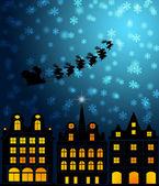 Santa Sleigh Reindeer Flying Over Victorian Houses — Stock Photo
