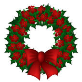 Holly Leaves and Berries Christmas Wreath — Stock Photo