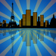 Reflection of New York City Skyline at Night — Stock Photo